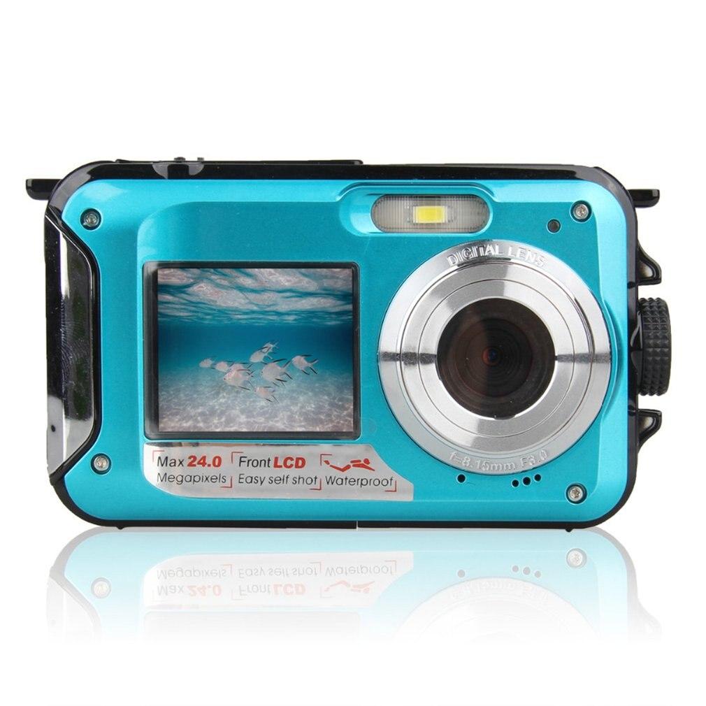 Doppel Bildschirm Unterwasser Kamera HD Wasserdichte Foto Schießen Video Aufnahme Sport Tauchen LED Flash Digital Video Kamera