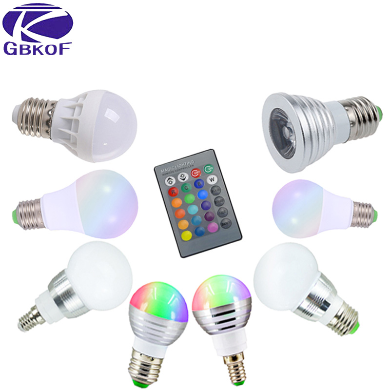 3W 5W 7W 10W RGB led bulb light E14 E27 Bubble Ball Lamp AC85-265V Dimmable Magic HolidayRGB Led Spotlight Bulb+Remote Control