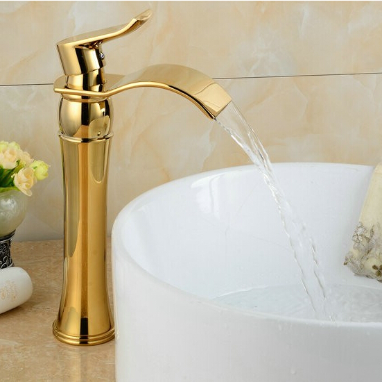 Waterfall Gold Faucet Single Handle Antique Kitchen Basin Mixer Taps Single Hole Sink Faucet G1061Waterfall Gold Faucet Single Handle Antique Kitchen Basin Mixer Taps Single Hole Sink Faucet G1061