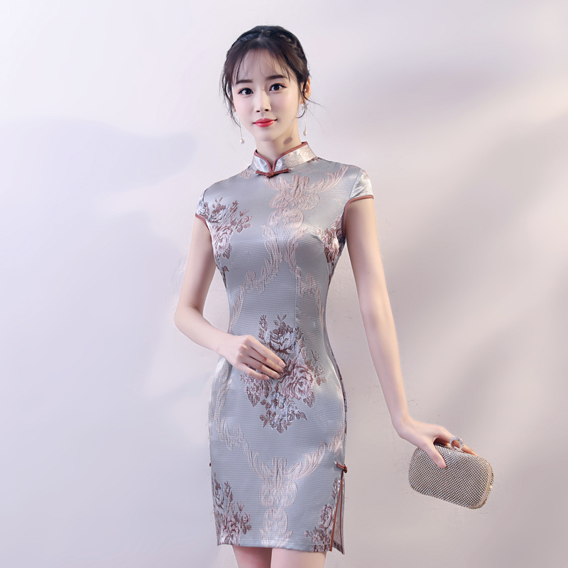 Traditional Chinese Women Satin Sexy Drees Vintage Flower Slim Mini Qipao Novelty Handmade Button Tight Cheongsam S-XXL