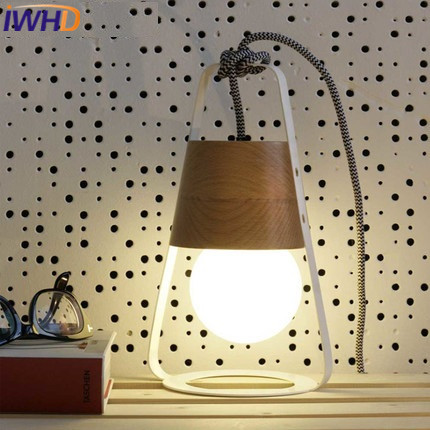 IWHD Wood Lampara Led Pendant Light Fixtures Modern Fashion Iron Hanging Lamp Nordic Style Bedroom Kitchen Home Lighting Lustre