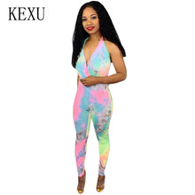 KEXU Off Shoulder Halter Women Jumpsuits New Fashion Sexy Bodycon Playsuits Vintage Rompers Summer Sleeveless Hollow Out Wear