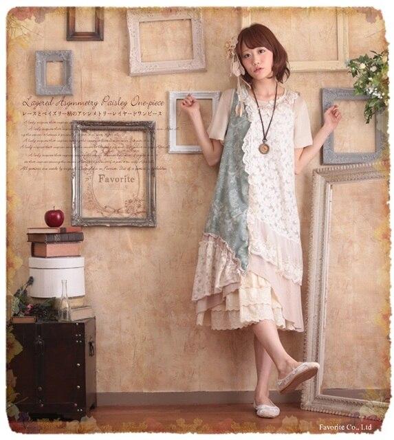 Lace Patchwork Vintage Pattern Embroidery Roupa Feminina Bohemian Hippie  Boho Lolita Mori Girl Harajuku Dames Jurken 64a9451bd