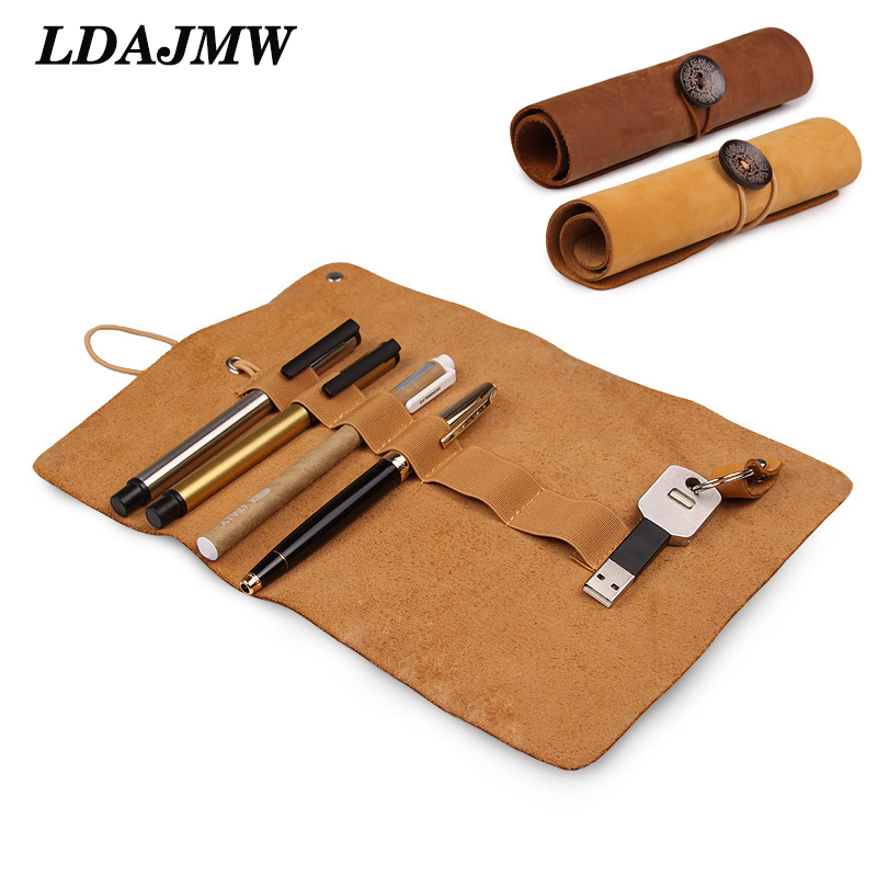 LDAJMW Dermis Organizer Genuine Leather Case Storage Bag Cosmetic Storage Bag USB Data Cable Earphone Wire Pen Box