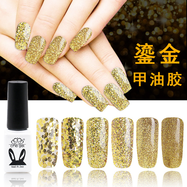 6PCS 3g gold silver glitter powder sequins nail art gel led uv gel ...