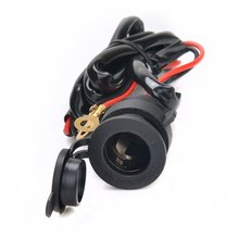 Waterproof 12V-24V Car Motorcycle Female Cigarette Lighter Power Socket Outlet with 1.5M Fuse Line Wire for GPS Cellphone MP3