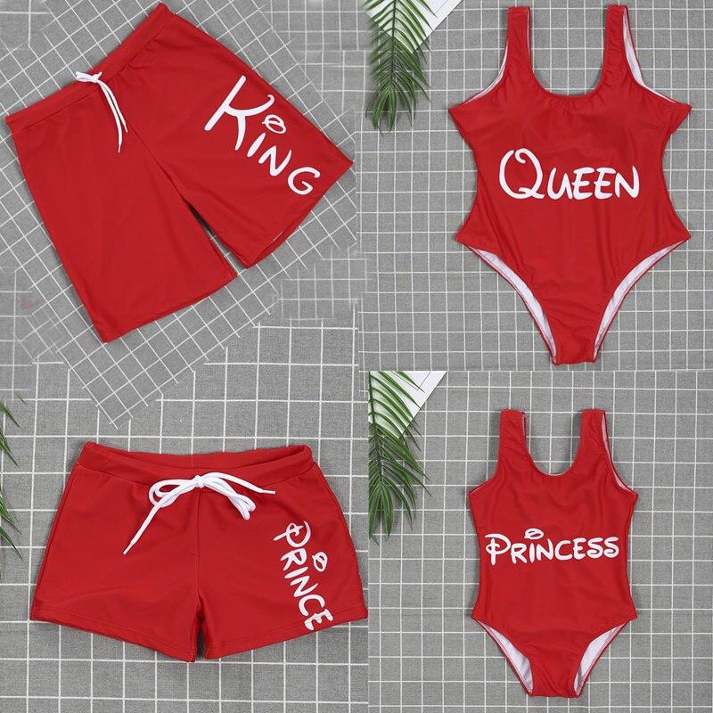 Family Matching One Piece Swimsuit Mother Kids Girls Letter Print Bikini Dad Boy Swim Trunks Summer Beachwear Bathing Suit E0167