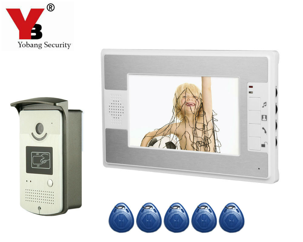 Yobang Security 7Video Intercom Doorbell Phone System With 5 RFID camera Access Door Video Doorbell Camera Stock Wholesale yobang security free ship 7 video doorbell camera video intercom system rainproof video door camera home security tft monitor