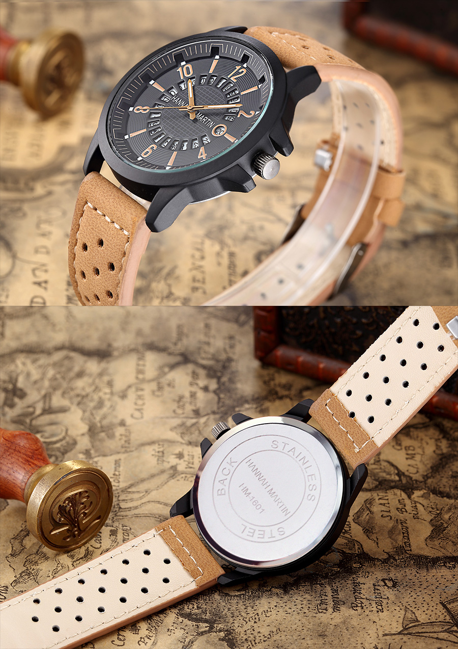 HTB1C6BdaiLxK1Rjy0Ffq6zYdVXa2 Men Wrist Watch Leather Casual Waterproof Calendar