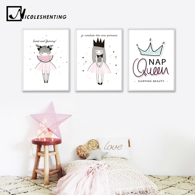 Watercolor Cartoon Girl Motivational Quotes Posters and Prints Wall Art Canvas Painting Nordic Style Picture for Living Room