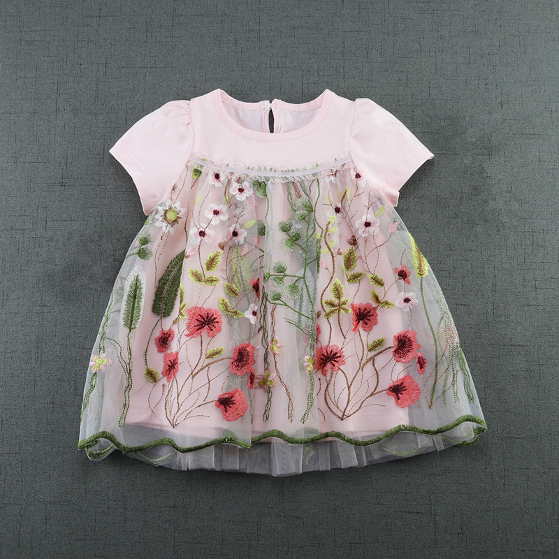 цены Baby Dress Infant girl dresses flowers Embroidery Baby Girls Clothes Princess Birthday Dress for Baby Girl 2color 0-2T