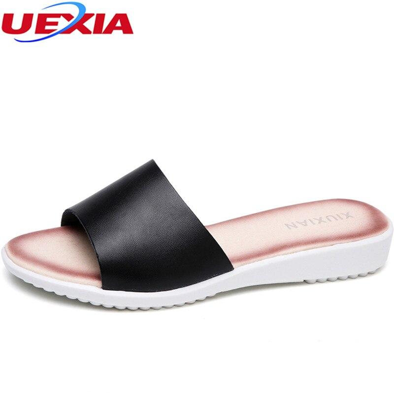 UEXIA 2018 Fashion Summer Soft Slippers Women Flats Shoes Beach Slip-on Lady Cutout Outdoor Casual Flat Heel slides flip flops