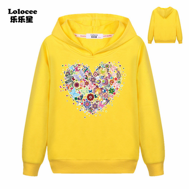Casual Girls Colorful Flowers Print Long Sleeve Hooded Sweatshirt Loose Cotton Hoodies Pullovers Tracksuits Fashion Clothes