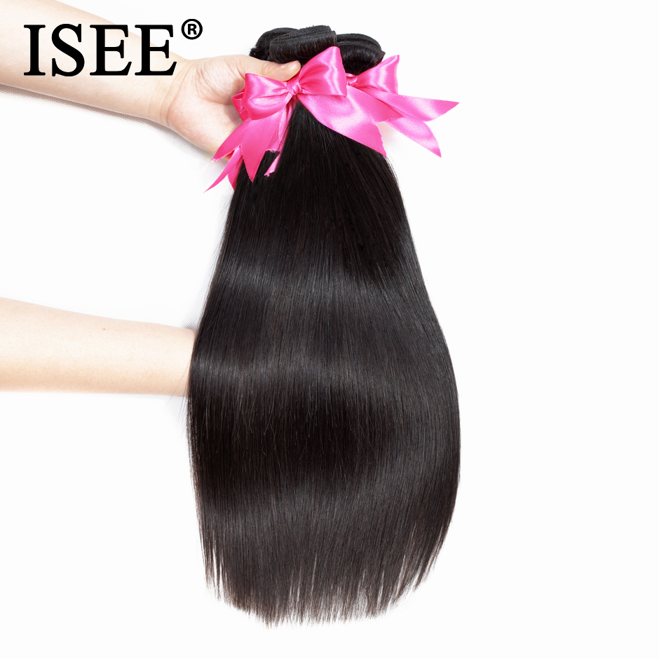 ISEE Hair-Extension Weave Human-Hair-Bundles Straight Malaysian 10-26-Inches Remy Nature-Color
