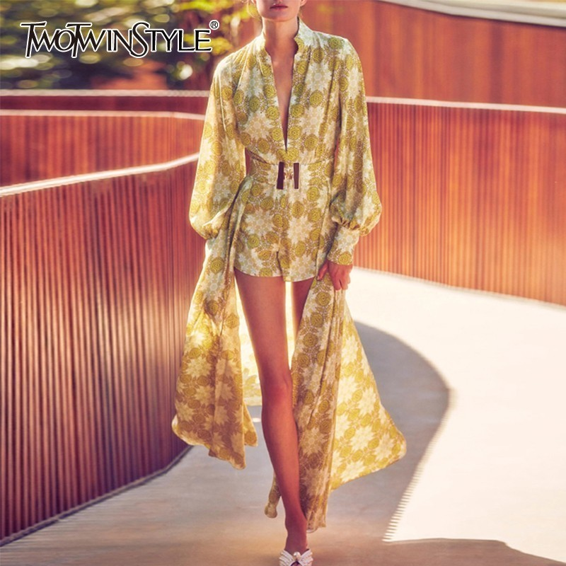 TWOTWINSTYLE Vintage Printed Women Suits V Neck Lantern Sleeve High Waist Playsuits With Midi Skirt Female