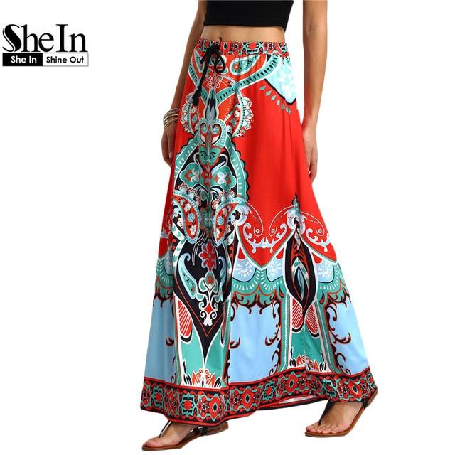 SheIn Long Maxi Skirt For Women New Arrival Ladies Multicolor Vintage Tribal Print Tassel Tied Waist A Line Skirt