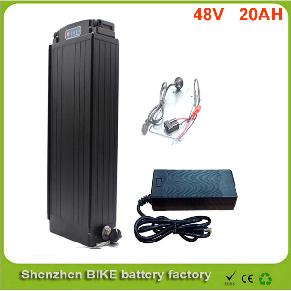 rear rack 48V 1000W electric bike battery 48v 20ah electric bicycle battery 48v 20ah lithium ion battery+ Power tail  lights ebike 1000w lithium battery 48v 20 ah aluminium case rear rack bike electric bicycle lithium battery for samsung pack