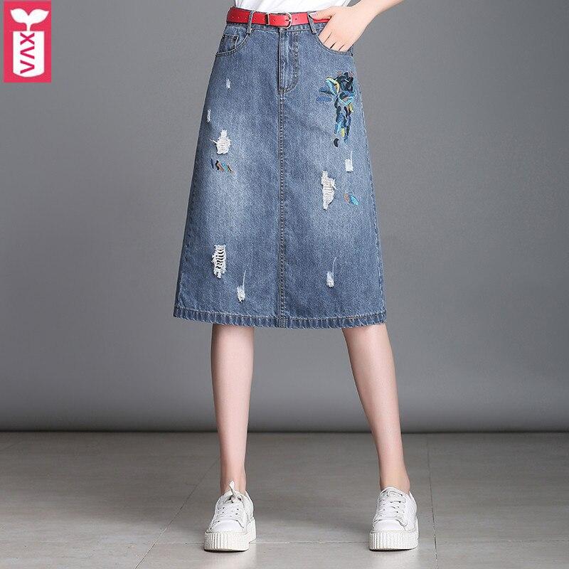 Créativité coton femmes Denim femme genou longueur Jeans jupes broderie taille haute poche bouton jupes 2018 automne