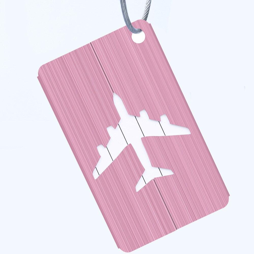 OKOKC багажные бирки из алюминиевого сплава, багажные бирки, ярлыки для багажа, аксессуары для путешествий - Цвет: Pink