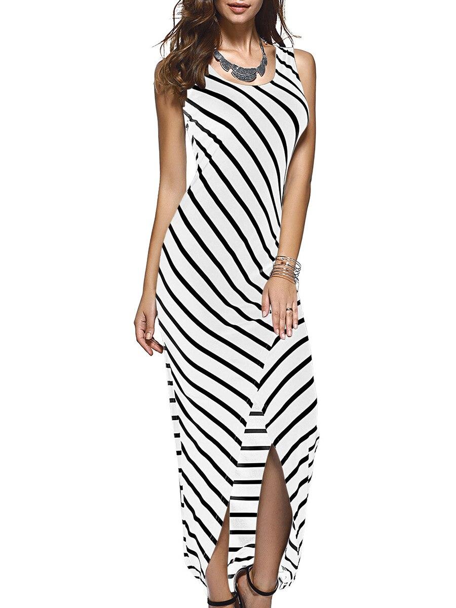 Women Black White Striped Boho Maxi Dresses 2016 Summer -4328