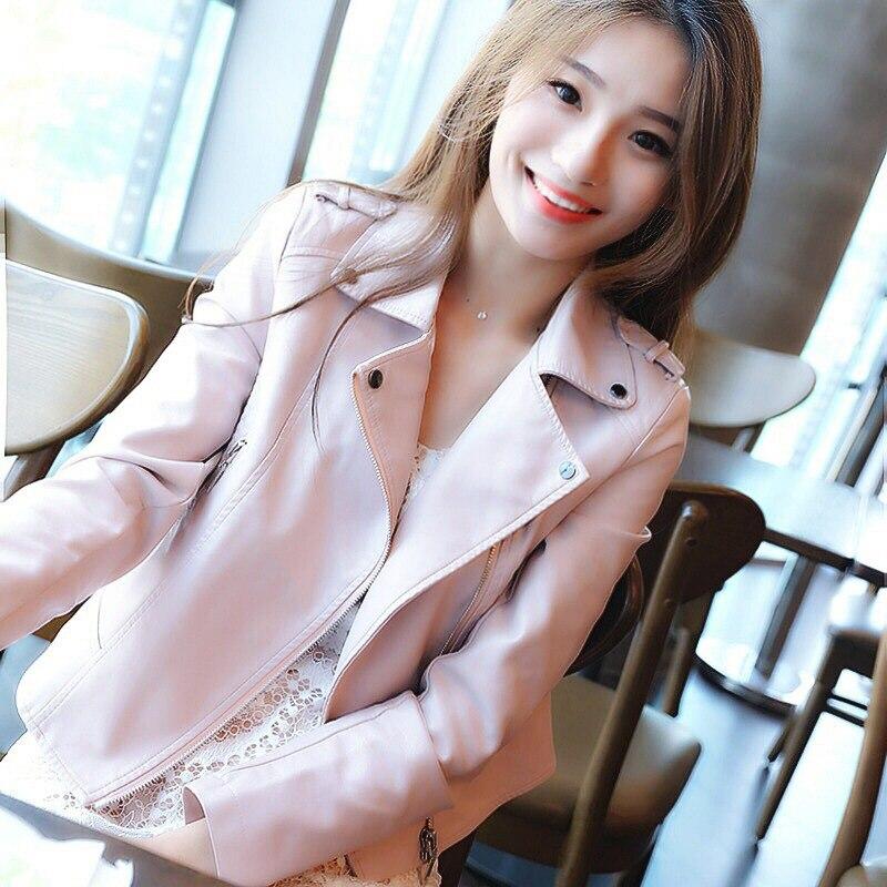 Brand Motorcycle PU Leather Jacket Women Autumn Spring New Fashion Slim Coat Zipper Outerwear Pink Jackets 2019 Short Coats HOT