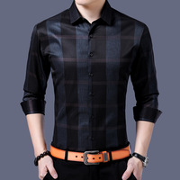 Men Clothes 2018 Spring Fashion New Brand England Style Plaid Tuxedo Shirts Long Sleeve Open Stitch