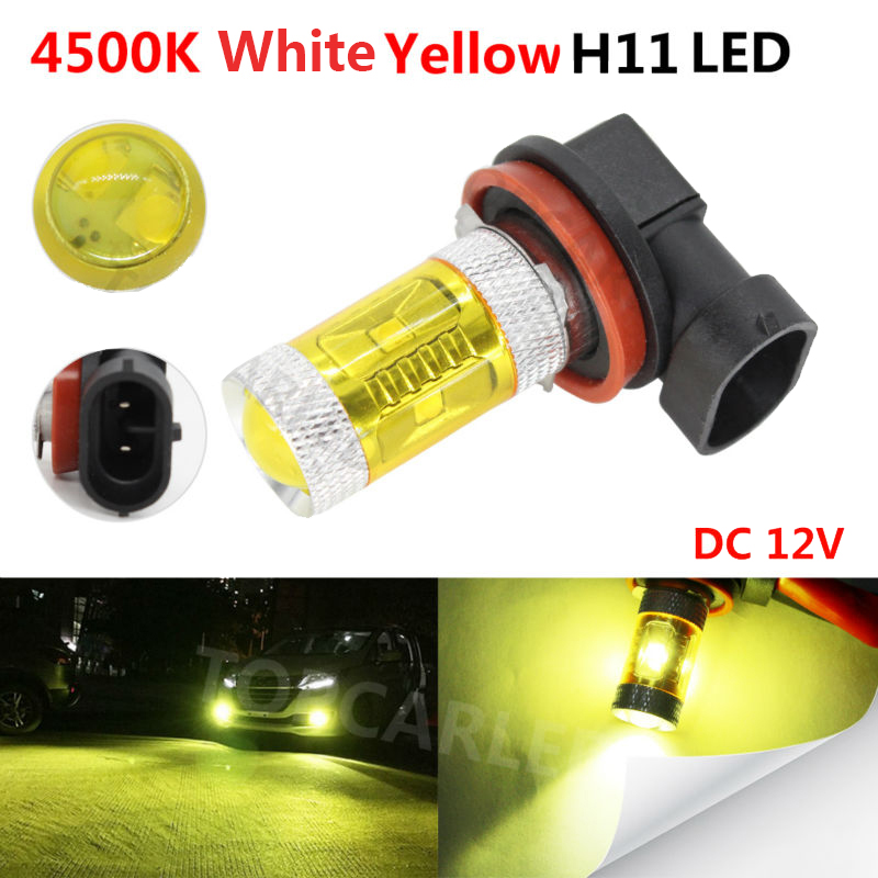 1pc H11 LED Car Fog Lamp Bulb 30W High Power 4500K White Yellow Car Auto Driving Fog Light DC 12V Universal