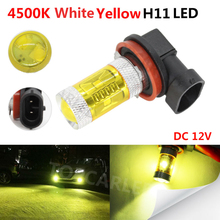 1Pcs H11 100W car led Gold Yellow Car Daytime Running Lights Bright DRL high power headlight bulb auto driving fog lamp 2pcs car led fog lamp h11 bright daytime running light auto led parking bulb driving light headlight drl source xenon lamp