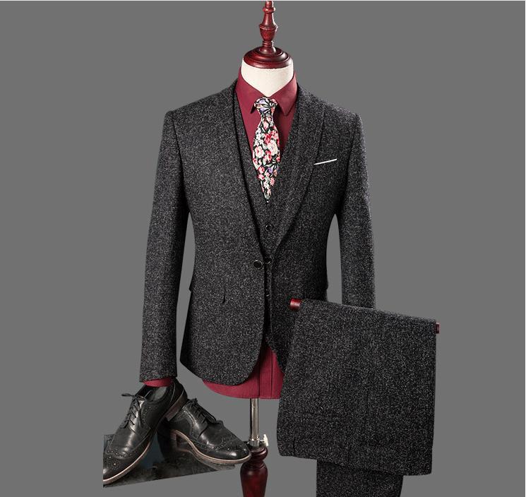 New Arrival Men High Quality Tailored Suit 3 Pieces Set Wedding Business Suit For Men Tailored Traje Hombre(Jacket+Pants+Vest)