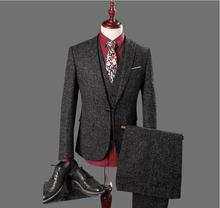 New Arrival Men High Quality Tailored Suit 3 Pieces Set Wedding Business For Traje Hombre(Jacket+Pants+Vest)