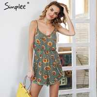 Simplee Floral print tassel split jumpsuit Backless high waist elastic short romper 2018 Women casual summer beach playsuit