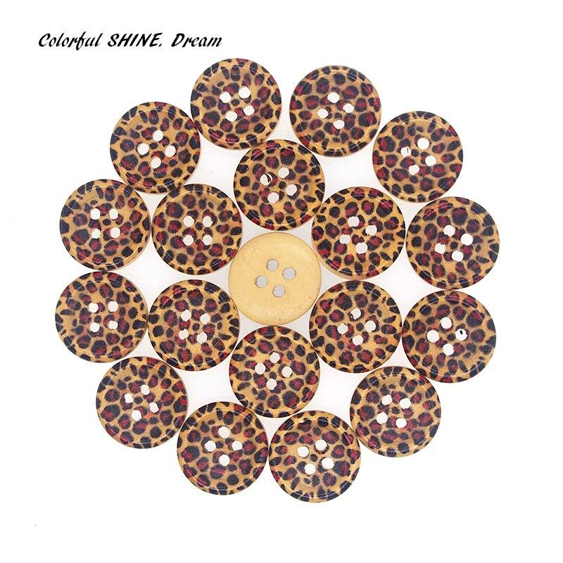 50PCs Wholesale Natural Wooden B\uttons Round Leopard Print Design Scrapbooking Sewing Accessories DIY Craft 2 Holes 15mm Dia. buttons designer buttons wholesaledesigner buttons - AliExpress