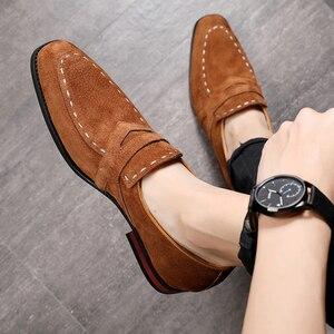 Image 1 - Misalwa 38 48 Casual Suede Men Oxford Dress Shoes Pointed Toe Mens Formal Shoe Khaki Elegant Simple Suit Gentleman Loafers Flats