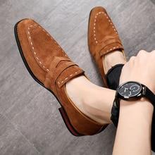 Misalwa 38 48 หนังนิ่มผู้ชายOxfordรองเท้าชี้Toe Mensอย่างเป็นทางการรองเท้าสีกากีElegantสูทสุภาพบุรุษรองเท้าLoafers