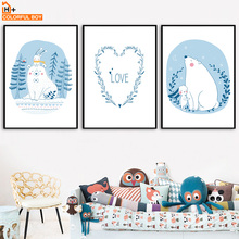 Bear Rabbit Heart Quote Wall Art Canvas Painting Nordic Posters And Prints Cartoon Animal Wall Pictures For Baby Kids Room Decor cartoon cute rabbit bear quote nursery wall art canvas painting nordic posters and prints wall pictures for baby kids room decor