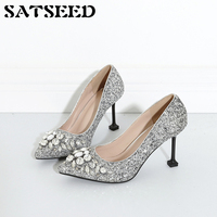 Spring Women Pumps 2018 Crystal Wedding Shoes High Heels Female Pointed Toe Pumps Sexy Fashion Shoes