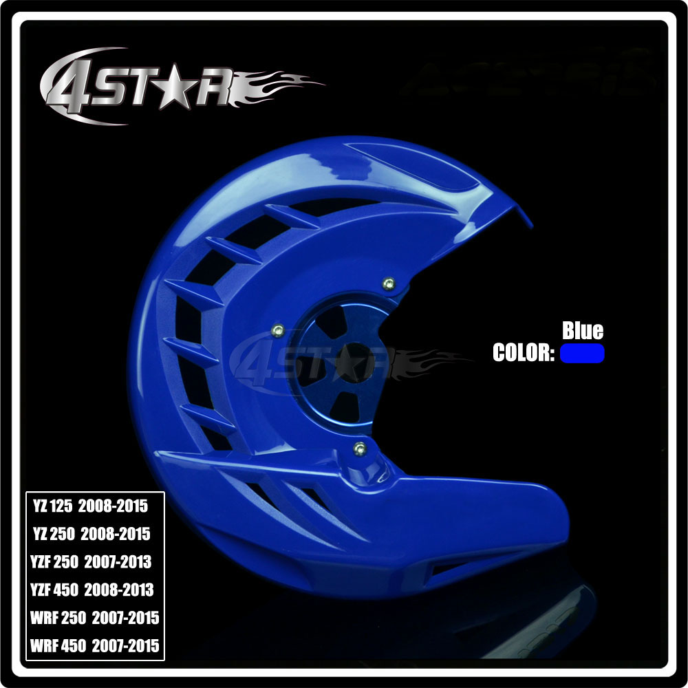 Blue Front Brake Disc Rotor Guard Cover Protector Protection For YZ125 250 YZF WRF 250 450 Motorcycle Motocross motorcycle front rider seat leather cover for ktm 125 200 390 duke