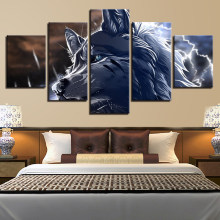Canvas Art Prints Poster Wall Modular Pictures 5 Set Fashion Animal Wolf Animation Spray Painting Retro Bedroom Home Decoration(China)