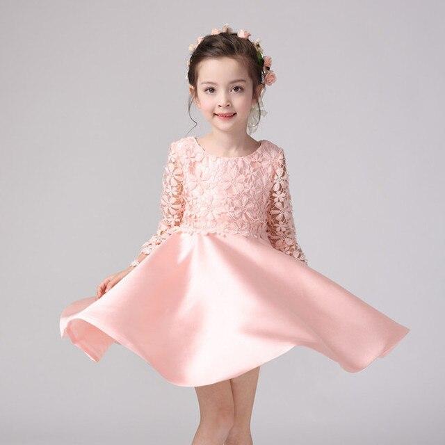 2018 Party Wear Formal Girls Dress Pink Full Sleeve Eleghant
