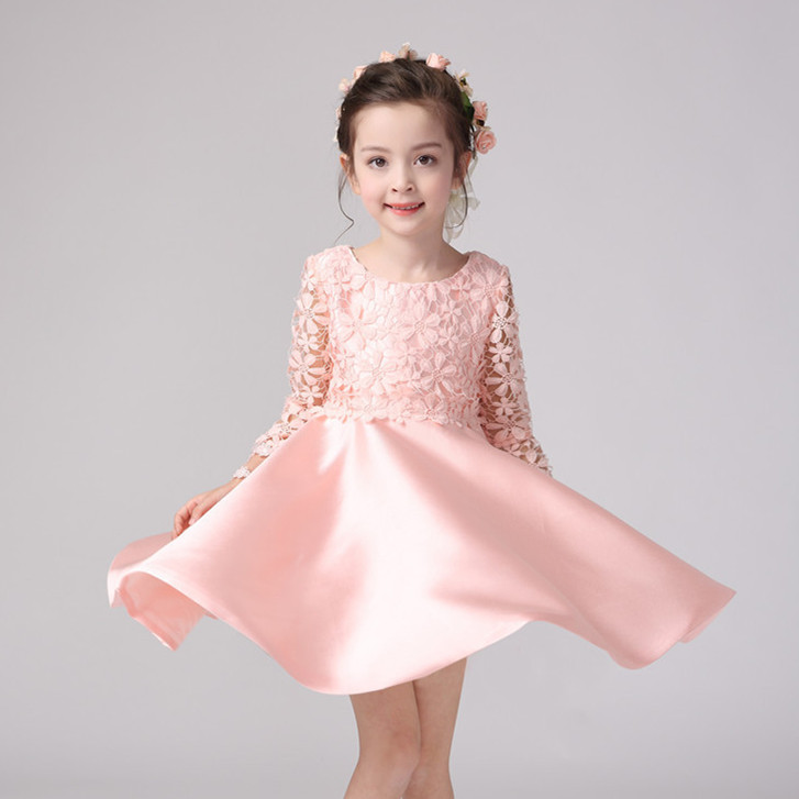2018 Party Wear Formal Girls Dress Pink Full Sleeve Eleghant Princess Wedding Flower Girl Vestido Fashion Girl Clothes SKF164010