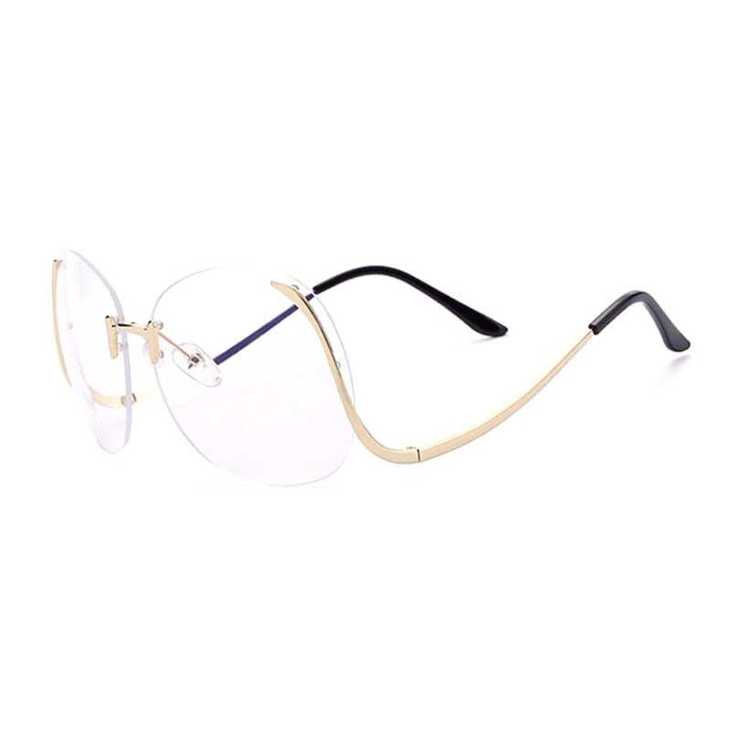 4dd18741e9ea2 ... TSHING RAY 2018 Oversized Round Rimless Sunglasses Women Fashion Optics  Big Metal Frame Sun glasses Elegant ...