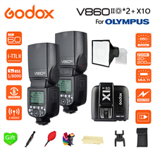 Paypal Accpect, Godox V860IIO Camera Flash speedlite 2*V860II-O GN60 TTL HSS 1/8000S Li-Battery + X1T-O for Olympus Cameras цена