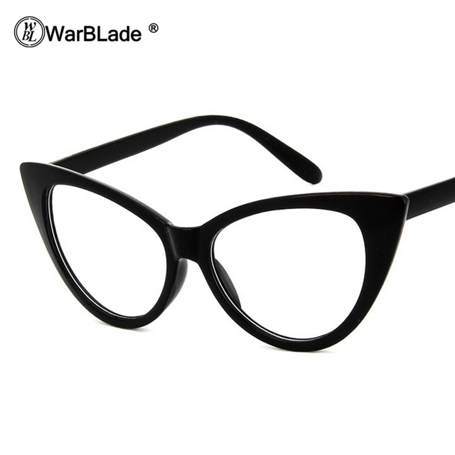 e240cc7045 WarBLade Women Cat Eye Glasses Frames Cat s Eye Clear Eyeglasses Ladies Spectacles  Frame Retro Women s Glasses Brand Designer