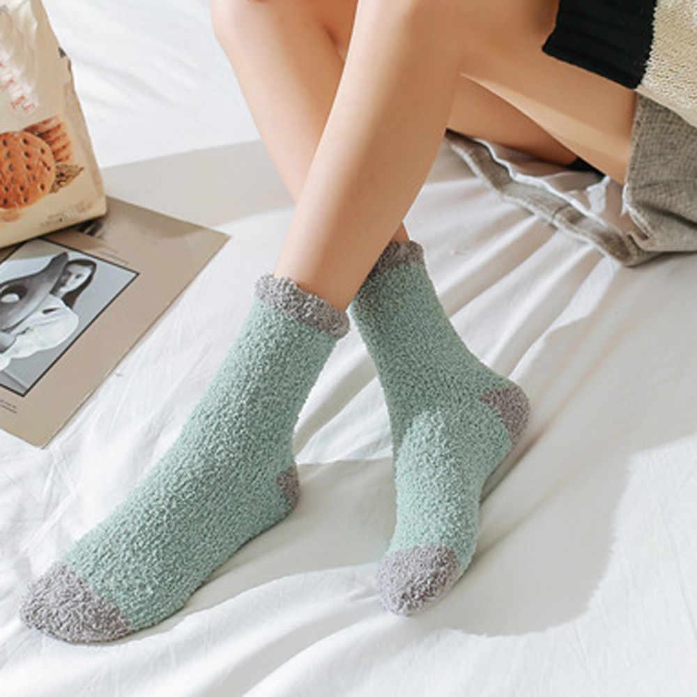 Neueste Frauen Baumwolle Socken Dicker Anti-slip Korallen fleece Boden Socken Komfortable Jugendliche Stil Weiche Socke Charmant Meias Soxs