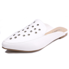 TONGPU New Arrival Women's Slippers White PU Leather with Eyelet Outdoor Flat Heel Mules Shoes 225-534
