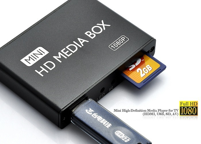 Mini Full HD 1080P USB External HDD//SD Media Player VGA HDMI MKV H.264 RMVB WMV