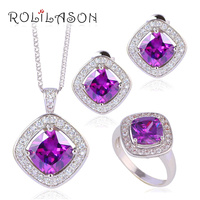 Purple Zircon Zirconia Square Fashion Jewelry Silver Filled Jewelry Sets Earrings Necklace Rings JS633