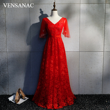 VENSANAC 2018 Lace Embroidery Sash A Line Long Evening Dresses Elegant V Neck Sequined Backless Party Prom Gowns