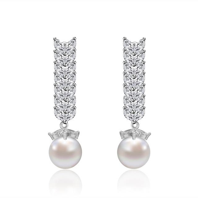 Nova chegada AAA Cubic Zirconia Brincos de pérola elegante moda longo dangle brincos Nupcial Brincos de Casamento para As Mulheres