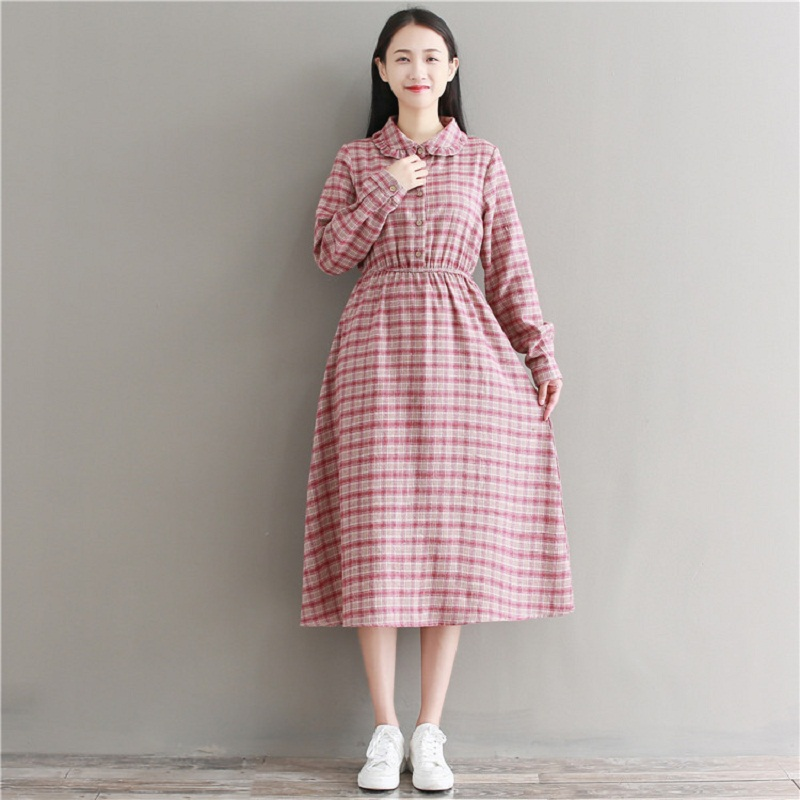 7464877061 Spring Autumn Women Elegant Plaid Midi Dress Peter Pan Collar Full Sleeve  Vintage Vestidos Cotton Linen Casual Loose Dress M 2XL-in Dresses from  Women s ...